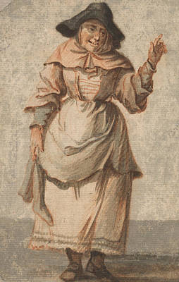 An Old Market Woman Grinning And Gesturing With Her Left Hand Print by Paul Sandby