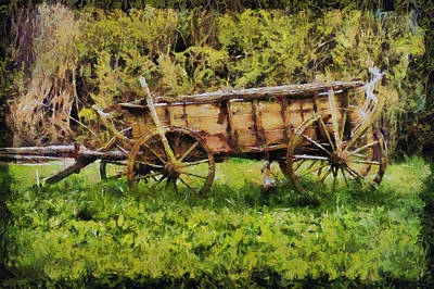 Old Wooden Wagon Painting - An Old Stagecoach by Akos Horvath