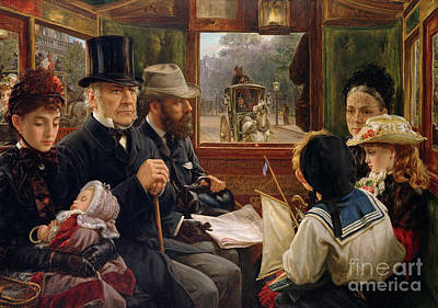 Baby Carriage Painting - An Omnibus Ride To Piccadilly Circus, Mr Gladstone Travelling With Ordinary Passengers by Alfred Morgan