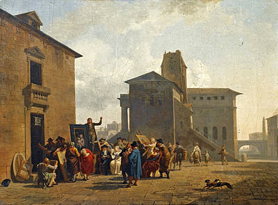 Painting - An Open-air Auction In A Town Square by Nicolas-Antoine Taunay