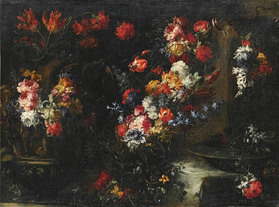 Painting - An Ornate Still Life With Flowers In Vases On A Stone Ledge by Margherita Caffi