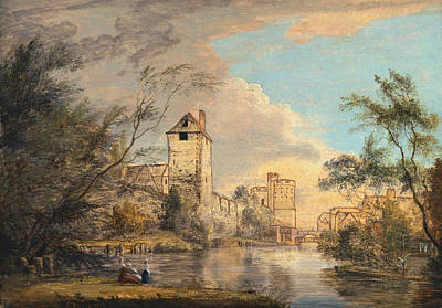 18th Century Painting - An Unfinished View Of The West Gate, Canterbury by Paul Sandby