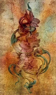 Abstract Digital Drawing - An Vintage Cherry Blosom by Irina Effa