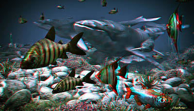 Mars Digital Art - Anaglyph Whales by Ramon Martinez