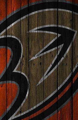 Anaheim Ducks Wood Fence Print by Joe Hamilton