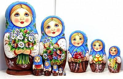 Matryoshka Sculpture - Anastasia With A Bouquet  by Viktoriya Sirris