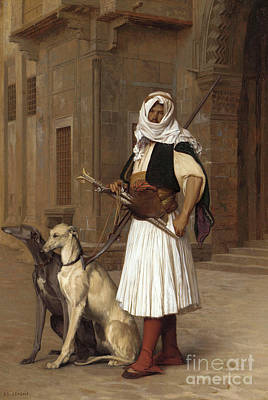 Dog Walking Painting - Anaute Avec Deux Chiens Whippets, 1867 by Jean Leon Gerome