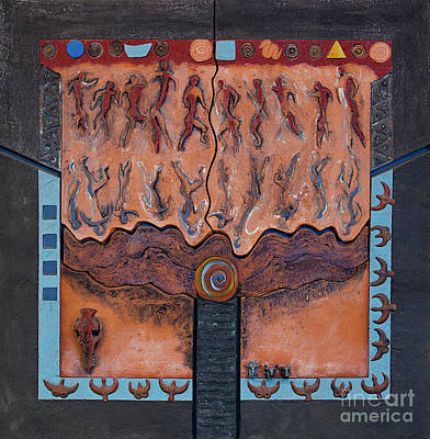 Mirror Imaging Relief - Ancestral Chart- Ancient Early - Hunters Gatherers - Chasseurs Cueilleurs - Cazadores Recolectores  by Urft Valley Art
