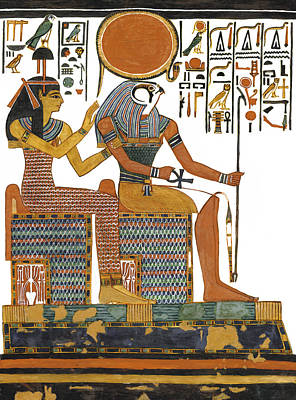 Ancient Egyptian Gods Hathor And Re Print by Ben  Morales-Correa