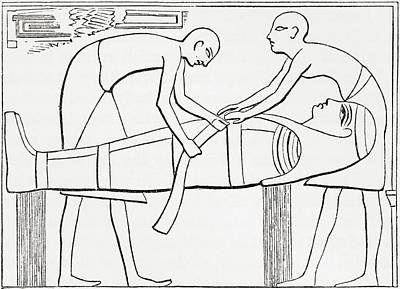 Ancient Civilization Drawing - Ancient Egyptians Swathing Or Wrapping by Vintage Design Pics
