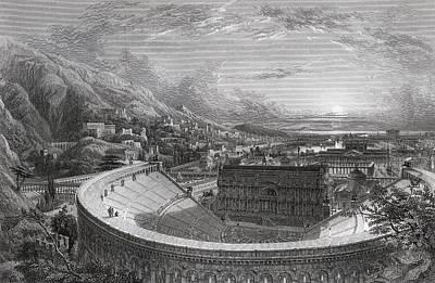 Restoration Drawing - Ancient Ephesus From Above The Theatre by Vintage Design Pics