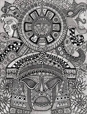 Ancient Civilization Drawing - Ancient Faces Mayan by Terri Kelleher