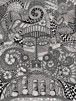 Ancient Civilization Drawing - Ancient Faces Rapa Nui by Terri Kelleher