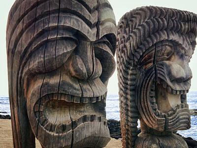 Ancient Hawaiian Tikis Print by Daniel Hagerman
