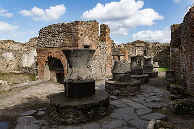 Bread Making Photograph - Ancient Pompeii - Bakery Of Modestus Millstones And Bread Oven by Georgia Mizuleva