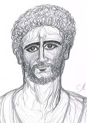 Ancient Civilization Drawing - Ancient Portrait Of Roman Emperor In The Style Fayoum/byzance by Cindy MILLET