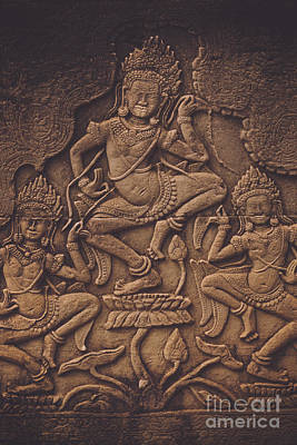 Dancer Relief Photograph - Ancient Temple Wall Art by Marcus Lindstrom