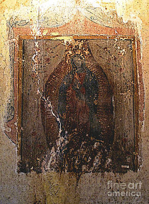 Ancient Virgin Of Guadalupe - Ex-convento Yuriria Print by Mexicolors Art Photography