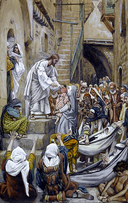Son Of God Painting - And All The City Was Gathered Together At The Door by Tissot