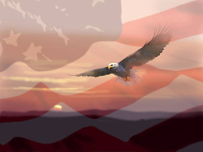 Usa Flag Painting - And The Eagle Flies by Paul Sachtleben