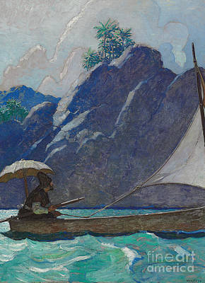 Turquoise Drawing - And Thus I Every Now And Then Took A Little Voyage Upon The Sea by Newell Convers Wyeth