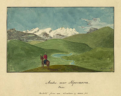 Drawing - Andes Near Alparmarca. Peru by Alfred Thomas Agate