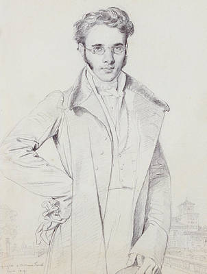Lapel Drawing - Andre-benoit Barreau, Dit Taurel by Jean Auguste Dominique Ingres