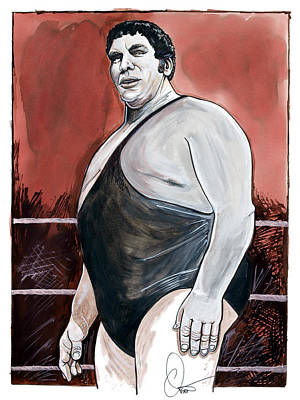 Wrestling Drawing - Andre The Giant by Dave Olsen