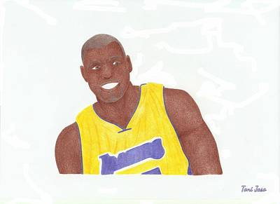 La Lakers Drawing - Andrew Bynum by Toni Jaso