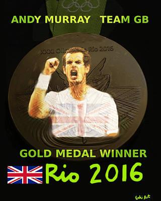 Olympics Digital Art - Andy Murray Gold Medal Poster  by Enki Art