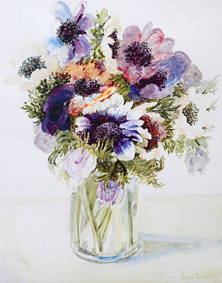 Anemones In A Glass Jug Print by Joan Thewsey