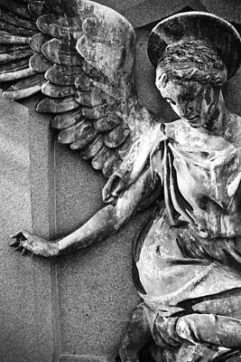 Marble Tomb-stones Photograph - Angel Art - Black And White by Colleen Kammerer
