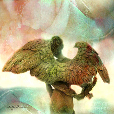 Angel Art Dreamy Surreal Whimsical Angel Art Wings Print - Impressionistic Angel Art Print by Kathy Fornal