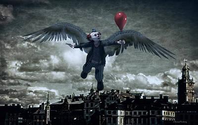 Angel Clown With Balloon Print by Ramon Martinez