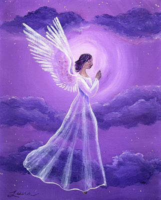 Religious Art Painting - Angel In Amethyst Moonlight by Laura Iverson