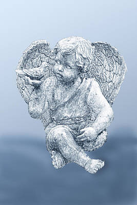 Innocent Angels Digital Art - Angel In Blue Sketch by Linda Phelps