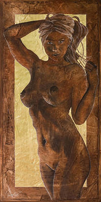 Angel In Gold Print by Richard Hoedl