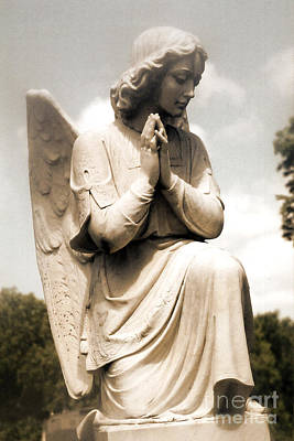 Surreal Art Photograph - Angel In Prayer Kneeling - Guardian Angel Of Compassion by Kathy Fornal