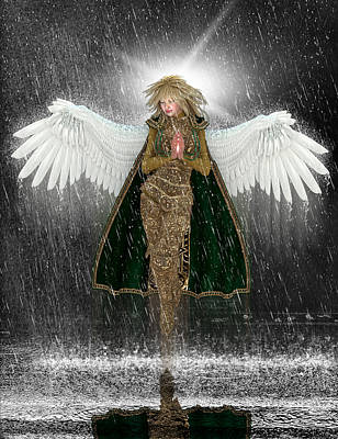 Golden Angel In The Storm. Original by Charm Angels