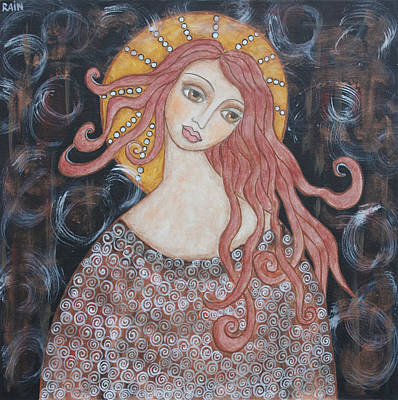 Christian Art . Devotional Art Painting - Angel Of Grace by Rain Ririn