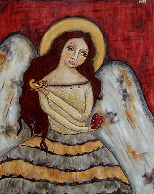 Christian Art . Devotional Art Painting - Angel Of Kindness by Rain Ririn