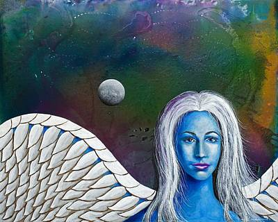 Outer Space Painting - Angel Of The Shepherd Moon by Lee Pantas