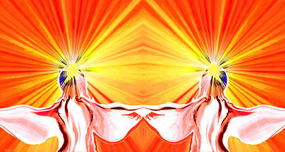 Innocent Angels Digital Art - Angel Twins Sunburst by Abstract Angel Artist Stephen K