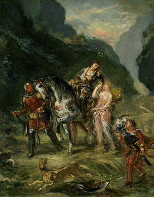Angelica And The Wounded Medoro  Print by Eugene Delacroix