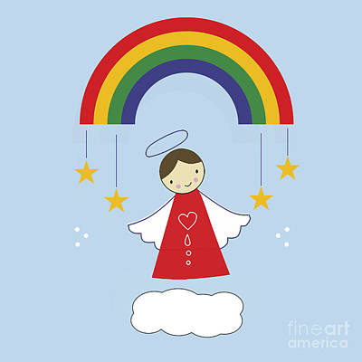 Angels And Rainbows Print by Kathrin Legg
