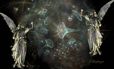 Angelic Digital Art - Angels And Trumpets by Jean Gugliuzza