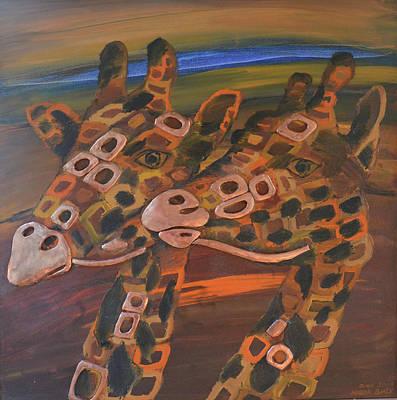 Angels Giraffes Original by Mirek Bialy