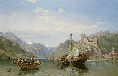Campanile Painting - Angera On Lake Maggiore by George Clarkson Stanfield