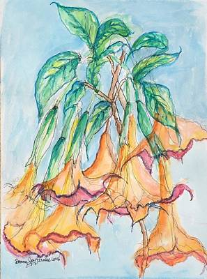 Datura Painting - Angel Trumpet by Donna Kerness