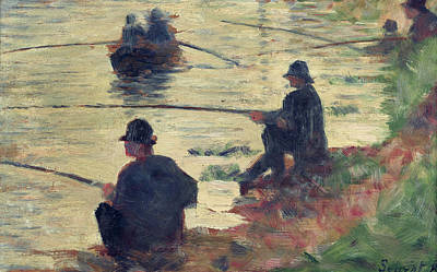 Row Boat Painting - Anglers by Georges Pierre Seurat